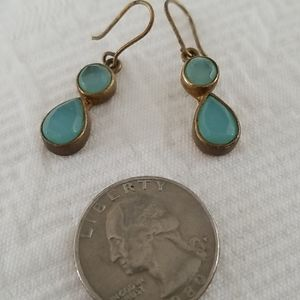 Blue stone and brass earrings